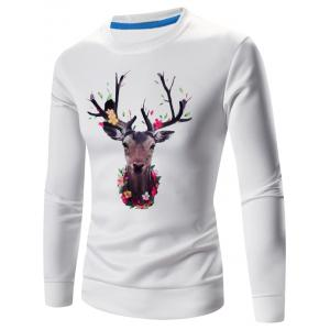 3D Elk Print Crew Neck Long Sleeve Sweatshirt