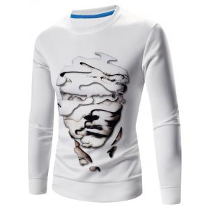 Crew Neck Long Sleeve Abstract 3D Face Print Sweatshirt - White - M