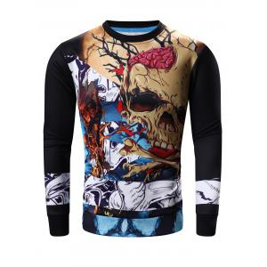 Round Neck Abstract Skull Print Long Sleeve Sweatshirt