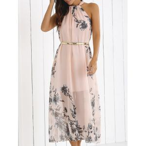 Blossom Print High Neck Chiffon Boho Maxi Dress - Shallow Pink - M