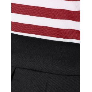 Striped Pleated A Line Dress - RED/WHITE L