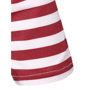 Striped Pleated A Line Dress - RED/WHITE M
