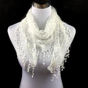 Casual Wintersweet Embroidery Tassel Triangle Trim Lace Scarf