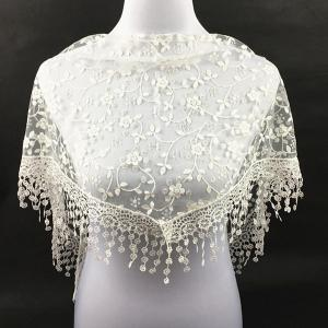 Casual Wintersweet Embroidery Tassel Triangle Trim Lace Scarf - WHITE