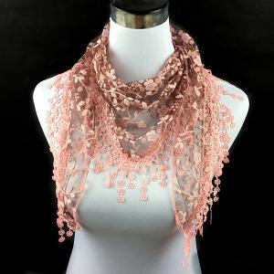 Casual Wintersweet Embroidery Tassel Triangle Trim Lace Scarf - Nude Pink - 2xl