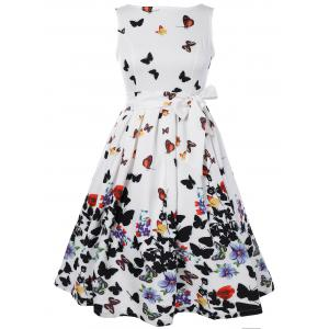 Sleeveless Floral Print Self Tie A Line Dress - WHITE L