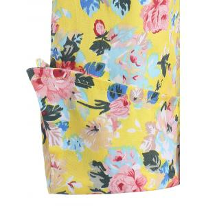 Shawl Collar Floral Swing Wrap Dress - YELLOW XL