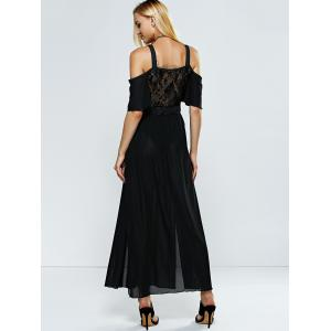 Plunging Neck Lace Slit Club Dress - BLACK L