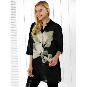 Flower Print Chiffon Loose Blouse -