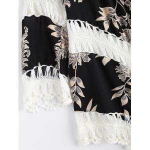 Hollow Out Floral Print Splicing Cover-Up -