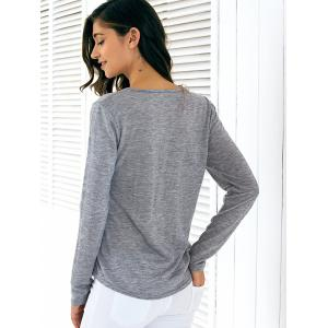 Long Sleeve Front Button Slim Fitting Blouse - GRAY XL
