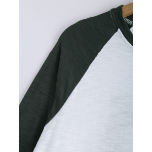 Raglan Sleeves Buttoned Hit Color T-Shirt -