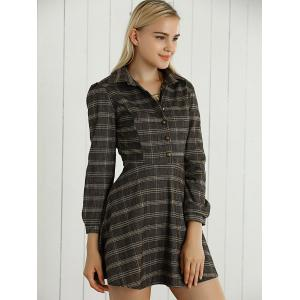 Long Sleeves Checkered Print Buttoned Dress -
