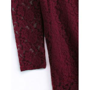 Plus Size Long Sleeve Lace Dress - WINE RED 5XL