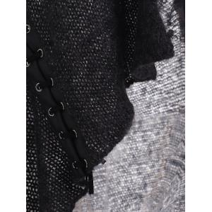 Lace Up Leather Patchwork Ruffled Cardigan - BLACK GREY L