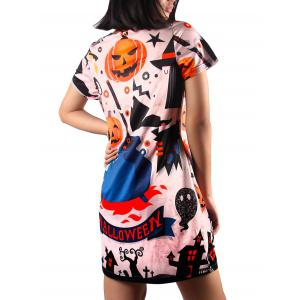 Cute Short Sleeve Pumpkin Print Dress - MULTI XL