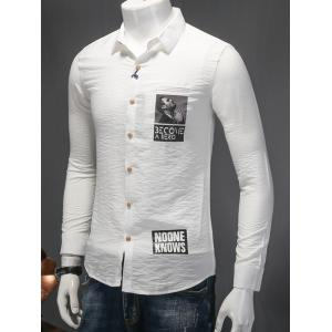Turn-Down Collar Letter and Figure Print Long Sleeve Cotton+Linen Shirt -