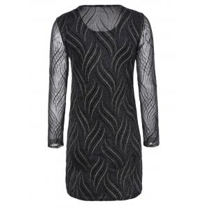 Long Sleeves See-Through Striped Bodycon Dress -