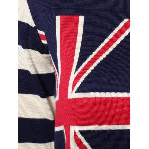 Striped Sleeves Flag Print Knitted Dress -
