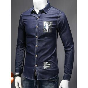 Turn-Down Collar Letters and Figure Print Long Sleeve Chambray Shirt - DEEP BLUE L