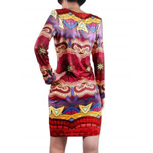 Jewel Neck Patterned Dress -