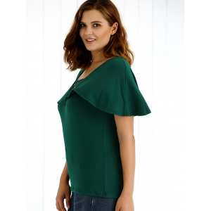 Plus Size Lace-Up Overlay Blouse -