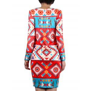 Geometric Print Colored Dress -