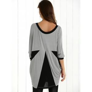Color Block Batwing Sleeve Blouse - BLACK AND GREY XL