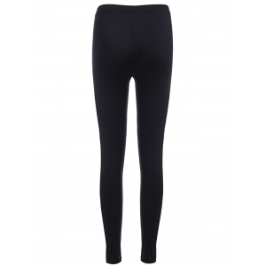 Elastic Waist Leather Patchwork Leggings - BLACK ONE SIZE