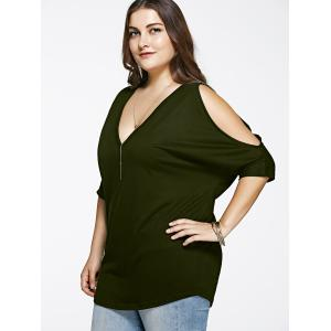 Cold Shoulder Loose-Fitting Cut Out Blouse -