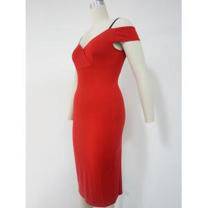 Spaghetti Strap Cold Shoulder Bodycon Dress - RED M