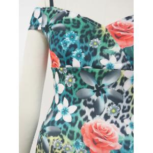 Floral Cold Shoulder Pencil Dress -