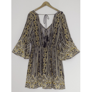 Bohemian Plunging Neck Backless Bell Sleeves Dress -