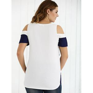 Cold Shoulder Two-Tone Textured T-Shirt - DEEP BLUE 5XL