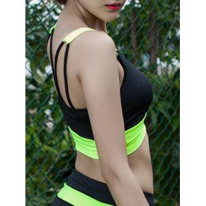 U Neck Strappy Color Block Sporty Bra - Fluorescente Verte XL