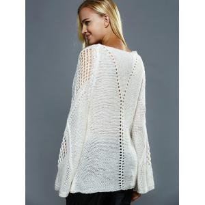 Bell Sleeves Openwork Knitted Sweater - OFF WHITE ONE SIZE