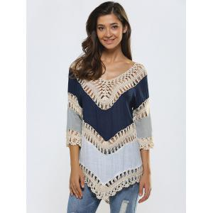 Hollow Out Crochet Splicing Asymmetrical Cover-Up -