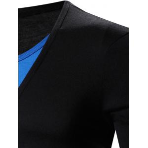Faux Twinset V-Neck Color Block Splicing Design Long Sleeve T-Shirt - BLUE AND BLACK M