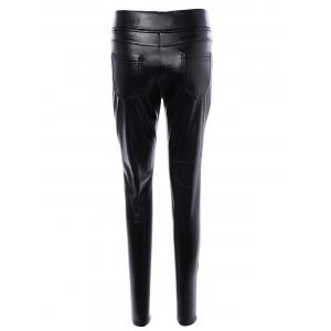 Beaded High Waist Slimming Leather Pants - BLACK XL