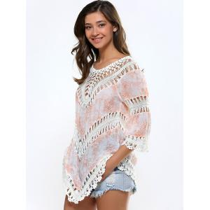 Floral Print Cut Out Crochet Asymmetrical Cover-Up -