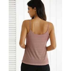 Glittery Spaghetti Straps Backless Tank Top -