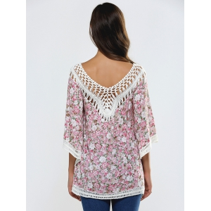 Floral Print Cut Out Crochet Cover-Up -
