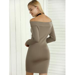 Off Shoulder Long Sleeves Sheath Short Dress -