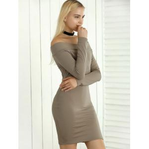Long Sleeve Bodycon Off The Shoulder Dress - KHAKI XL