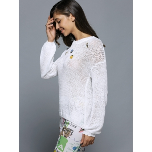 Bell Sleeve Beaded Hollow Out Knitwear -