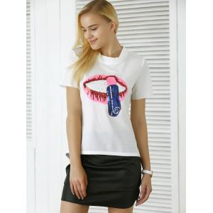 Lip Lipstick Sequins Asymmetric T-Shirt -