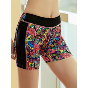 Printed Quick Dry Sporty Running Shorts - RED M