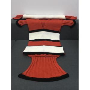 Super Soft Color Block Knitting Fish Tail Shape with Fins Design Blanket - SWEET ORANGE L
