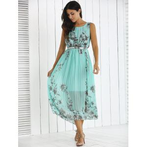 Flowers Print Belted Pleated Dress -