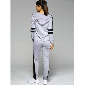 Zipper Asymmetric Hoodie and Spliced Pants Twinset -